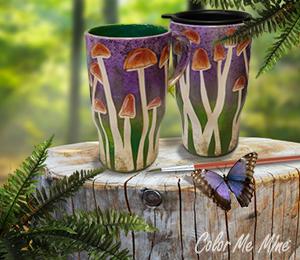 Bee Cave Mushroom Mugs